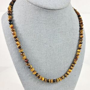 """Tigers Eye Bead Necklace Natural Round Polished Stone 20"""" Golden Amber Brown"""